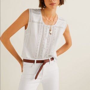 Mango linen embroidered blouse, XS